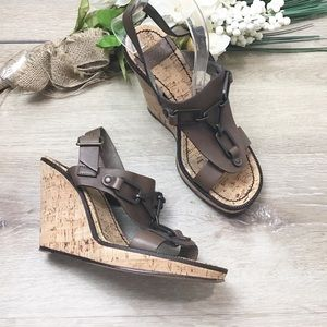 See by Chloe Leather T-Strap Cork Wedge Sandal